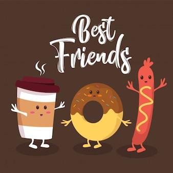 Fast food schattige beste vrienden karakters