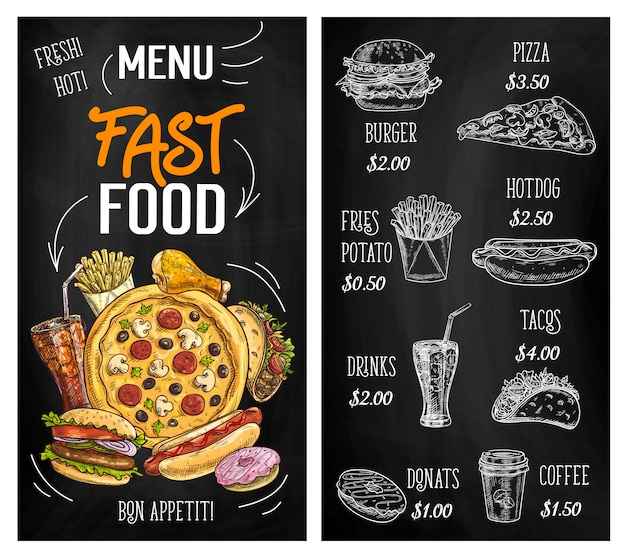Fast-food schets schoolbord menu, hamburgers, pizza