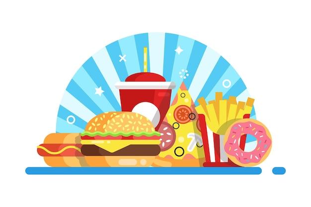 Fast food set samenstelling Premium Vector