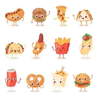 Fast food smile stripfiguren van hamburger of cheeseburger met fastfood emotie van hamburger of hotdog emoticon iconen en frisdrank emoji illustratie geïsoleerd op achtergrond