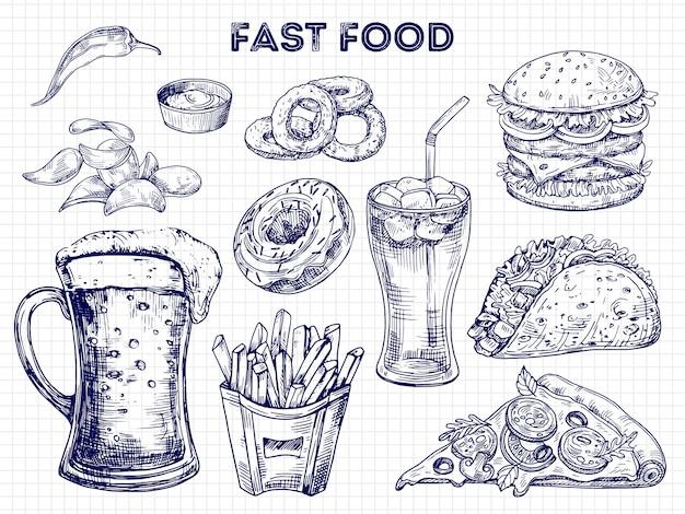 Fast food, snacks en drankjes schetsen illustratie