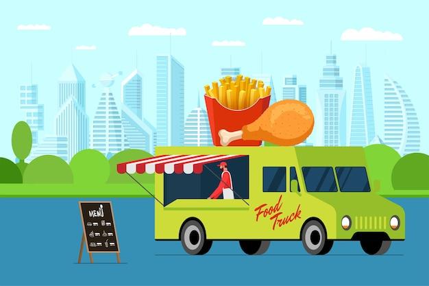 Fast food straatvrachtwagen met menu uithangbord buiten stadspark kip en frietjes op van dak