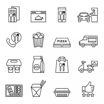Fast food, take away, package icons voor levering. dunne lijnstijl voorraad vector.