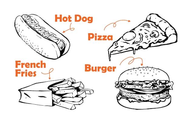Fast food vast menu illustartion
