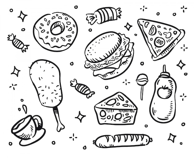Fast-food vector. fastfood doodle