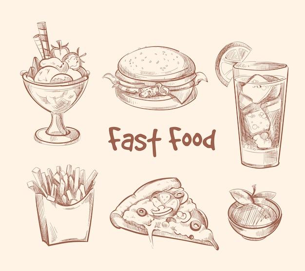 Fast-food vector in de hand getrokken schets stijl instellen