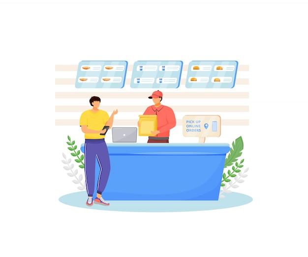 Fast food verkoper en koper kleurloze karakters. restaurant-gecontroleerde online eten bestellen, café kassa geïsoleerde cartoon illustratie voor webafbeelding en animatie