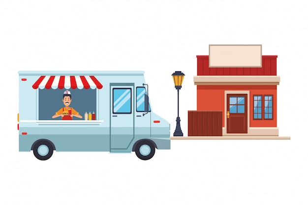 Fast food vrachtwagen cartoon