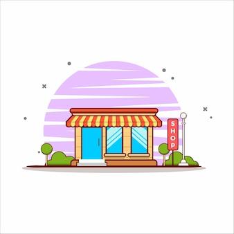 Fast-food winkel illustratie. fast food concept geïsoleerd. platte cartoon stijl
