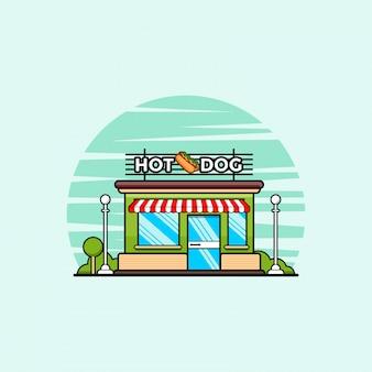 Fast-food winkel met hotdog clipart illustratie. fastfood clipart concept geïsoleerd. platte cartoon stijl vector