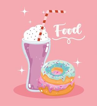 Fast food zoete donut en milkshake