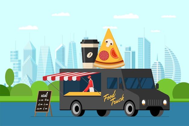 Fast food zwarte vrachtwagen met bakker buiten in stadspark. pizzaplak en koffiekopje op van dak. maaltijdbezorgservice. kermis op straat met horeca wielen. vector reclame illustratie