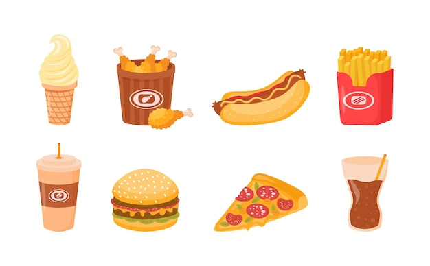 Fast street food lunch of ontbijtmaaltijd set geïsoleerd op een witte achtergrond