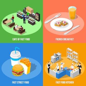Fastfood 2x2 isometrisch ontwerpconcept