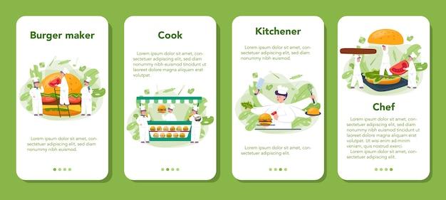 Fastfood, banner set voor mobiele applicaties voor hamburgers. chef-kok kookt smakelijke hamburger met kaas, tomaat en rundvlees tussen heerlijk broodje. fastfood restaurant. geïsoleerde platte vectorillustratie