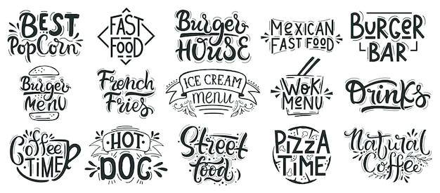 Fastfood belettering. rommel, straatvoedselcafé, bakkerij, restaurantbadges, pizza, hamburger en desserthand getrokken