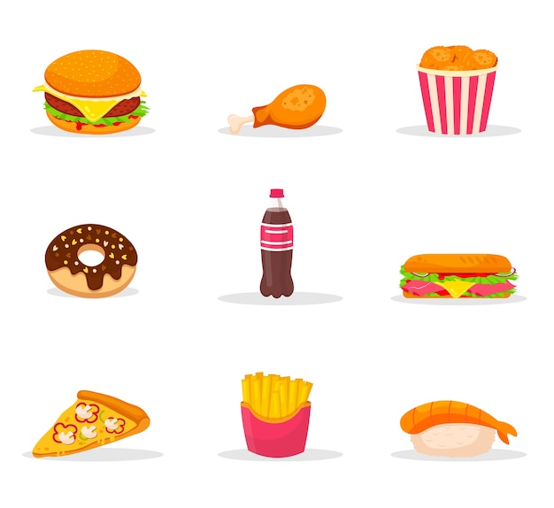 Fastfood cartoon kleur illustraties set. snack, junkfood kleur cliparts pack. bistro menu-elementen. assortiment café en pizzeria. hamburger, patat, hotdog, sushi, frisdrank