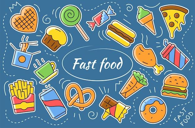 Fastfood cartoon sticker collectie. set van straatvoedsel pictogrammen. platte vectorillustratie.