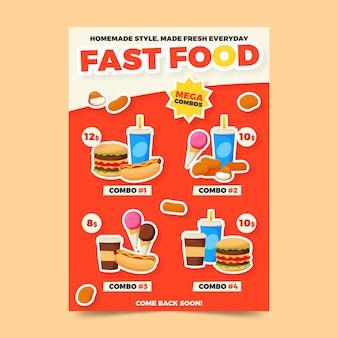 Fastfood combo maaltijden poster sjabloon
