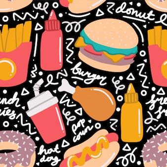 Fastfood doodle naadloze patroon
