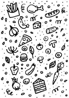 Fastfood doodles hand getekende kleurrijke vector symbolen en objecten