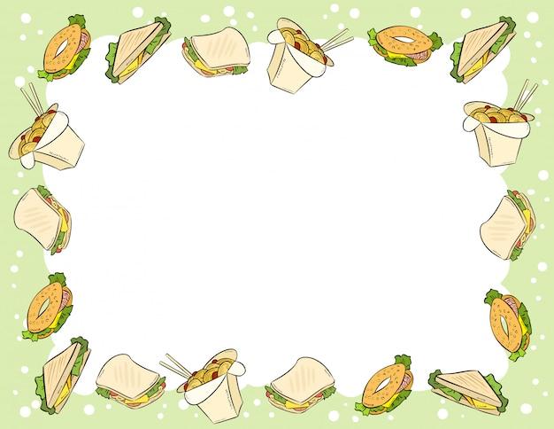 Fastfood en broodjes in komische stijl doodles bovenaanzicht frame
