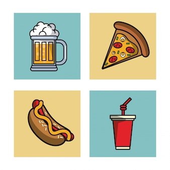 Fastfood en drankjes pictogrammen