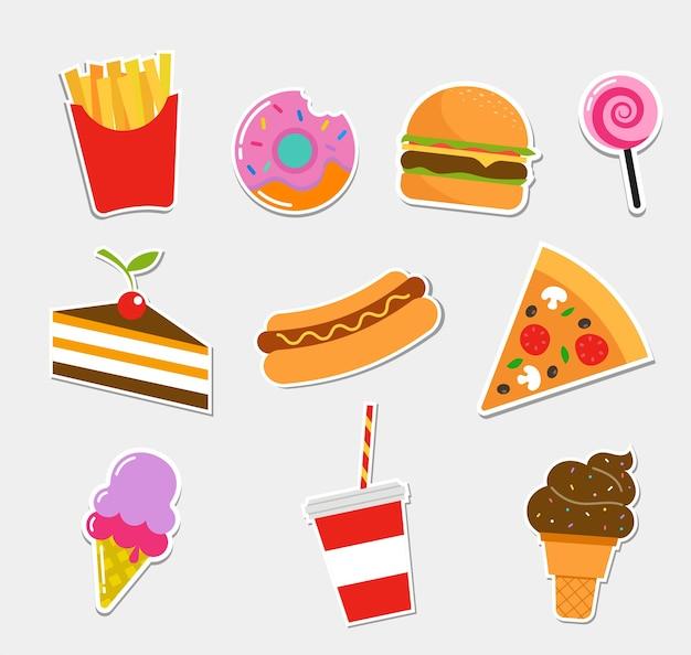 Fastfood en stickers.