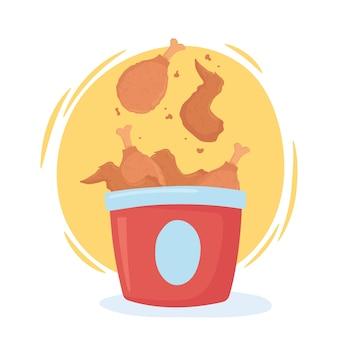 Fastfood, geroosterde kip in vak pictogram ontwerp