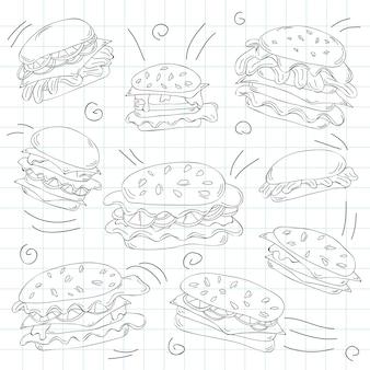 Fastfood hamburger doodle set - vectorillustratie