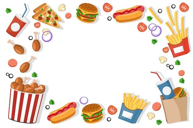 Fastfood hamburgers, patat, hotdogs frame achtergrond