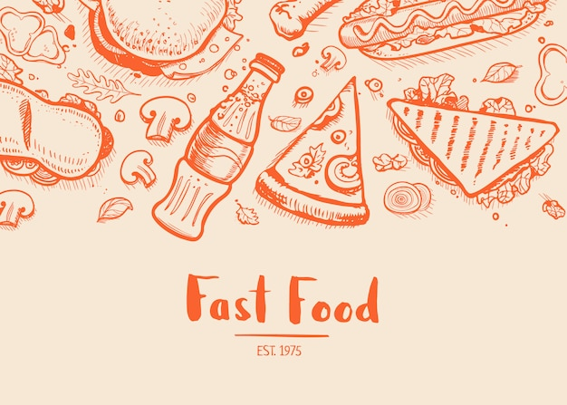 Fastfood hand getekende typografie