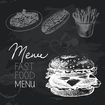 Fastfood hand getrokken schoolbord ontwerpset. zwarte krijttextuur