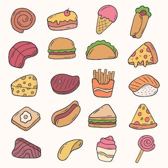 Fastfood handgetekende doodle collectie