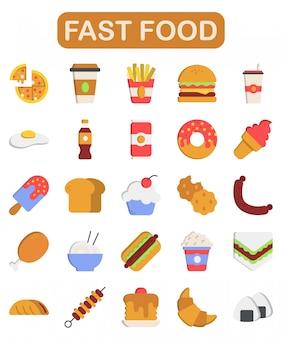 Fastfood iconen set, vlakke stijl