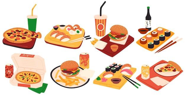 Fastfood in cartoonstijl