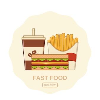 Fastfood in platte lijn kunstontwerp.