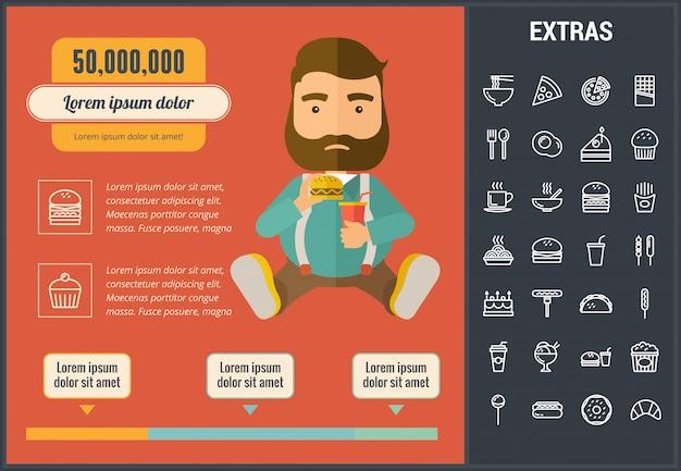 Fastfood infographic sjabloon en elementen
