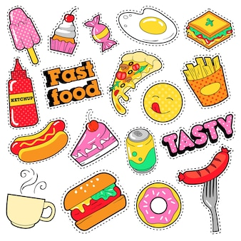 Fastfood-insignes, patches, stickers - hamburger frietjes hotdog pizza donut junkfood in komische stijl. tekening