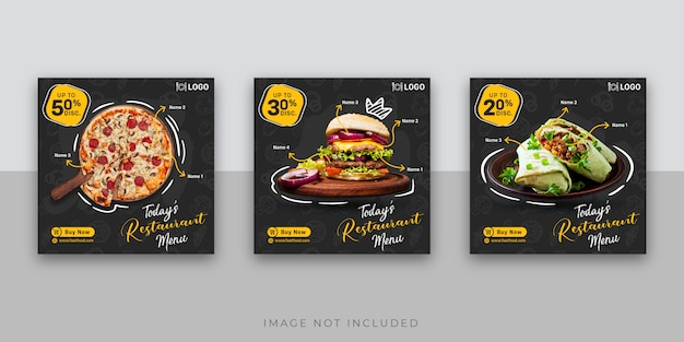 Fastfood instagram berichtsjabloon