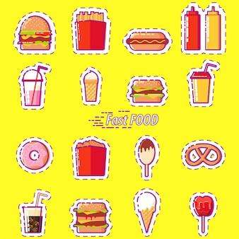 Fastfood instellen: hamburger, frisdrank, ijs, donut