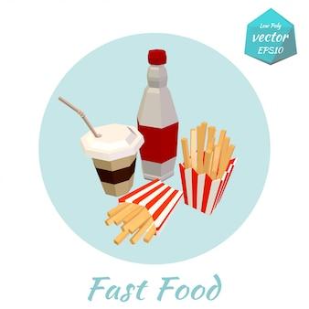 Fastfood items. laag poly stijl. illustratie