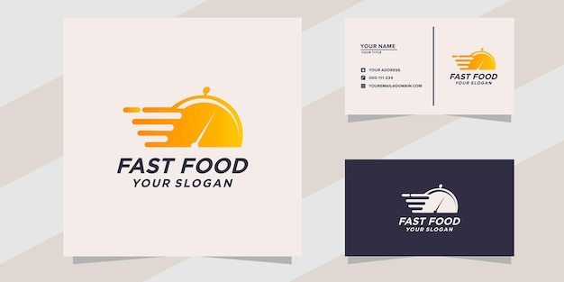 Fastfood-logo en visitekaartjesjabloon