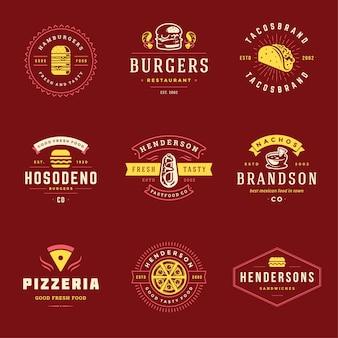 Fastfood-logo's die goed zijn voor pizzeria of hamburgertent en menubadges voor restaurants