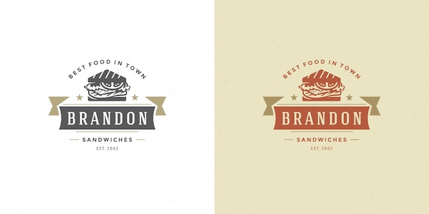 Fastfood logo vector illustratie sandwich silhouet goed voor restaurantmenu en café-badge