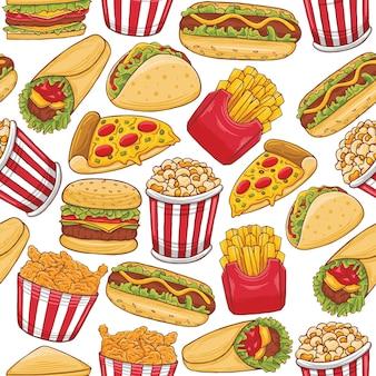Fastfood naadloos patroon in platte ontwerpstijl