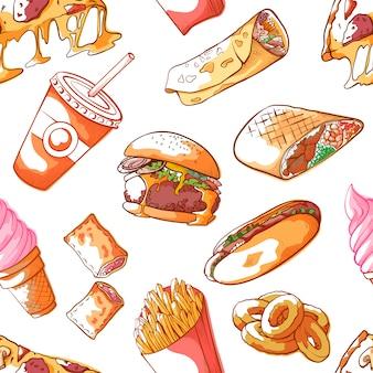 Fastfood naadloos patroon