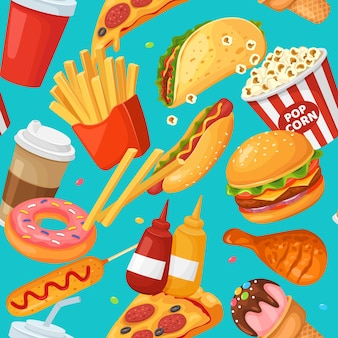 Fastfood naadloze patroon cartoon frietjes donut koffie kip hamburger taco ijs textuur