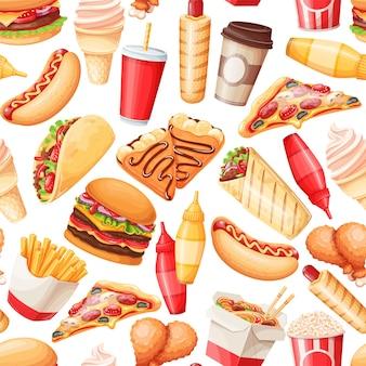 Fastfood naadloze patroon, vectorillustratie. achtergrond met pannenkoeken, hamburger, woknoedels, hotdog, shoarma, pizza en anderen voor afhaalcafé-ontwerp. illustratie van straatvoedsel.