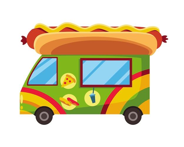Fastfood op straat. mobiele voedselwagen